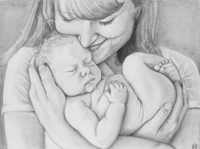 Mother Child Drawing